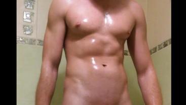 Masturbation in the shower. Sexy body man and big cumshot