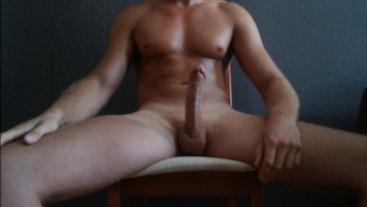 Horny guy jerking big cock. Huge and far cumshot