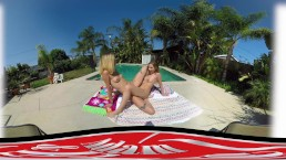 ADAME & EVE - VR TWO BLONE CURIOUS COEDS EAT EACH OTHER BY THE POOL