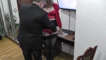 Office secretary. Boss fucks secretary and cumshot. Office camera