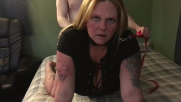 New Whore leashed up banged doggy talks about boyfriend maybe my last turn