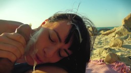 Risky BeachBlowjob Porn HD Public Russian Brunette Amateur Teen Cock Sucking