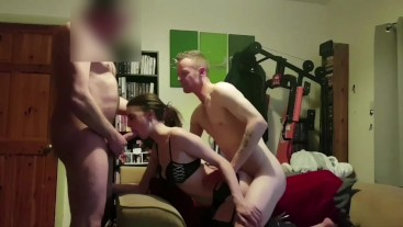spitroasting my slut girlfriend with a friend