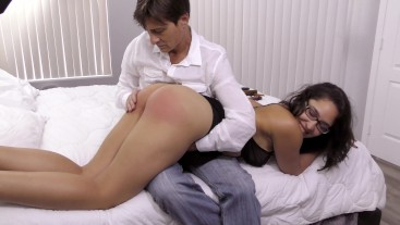Happy & Heavy OTK Hand-Spanking: upskirt ass smacking