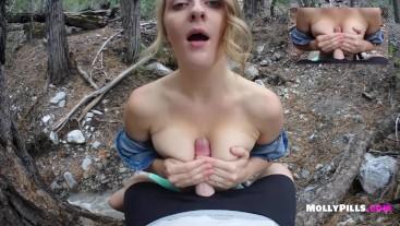My Real Girlfriend Public Blowjob POV - Molly Pills - Big Tits Amateur GFE