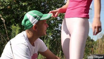 Unexpected Fuck Outdors. Athletic girl fucked by a stranger after jogging