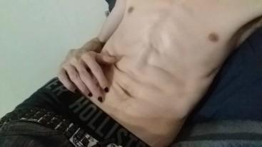 Skinny punk jerks it and fingers self
