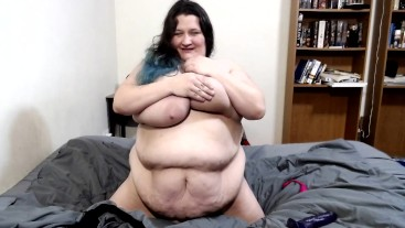 BBW DIldo Ride and Fuck Front SIde and On Back WIth Belly and Tit Play