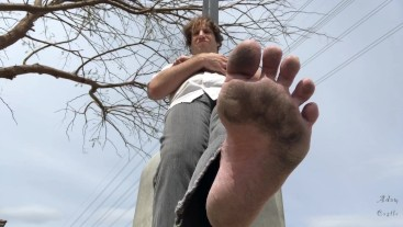 Man Dominates Sissy In Parking Lot With Dirty Feet