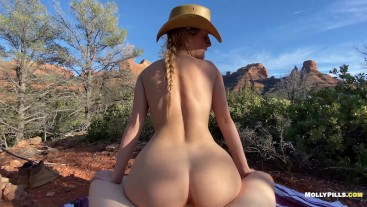 Cowgirl rides Big Cock in the Mountains - Molly Pills - Public Adventure Sex POV