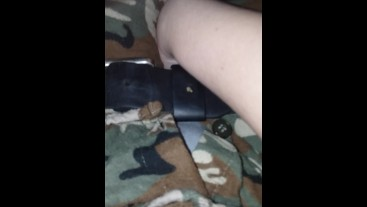 Using Belt To Bind and Rub Himself, Moaning For Daddy