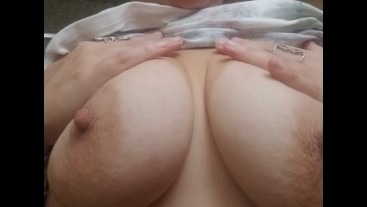 Chubby wife plays with breasts