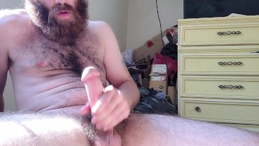 Stroking my big lubed up cock
