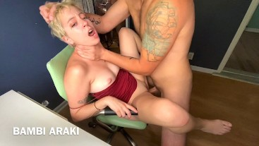 Spinner Teen in Tight Dress Gets Rough Fucked by Big Dick Roommate