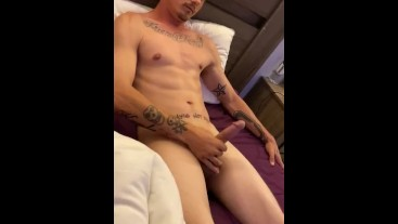 Stroking big cock to completion