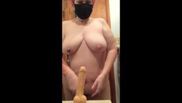BBW Mature MILF Nipples Nips Clamp Ass Dildo Anal