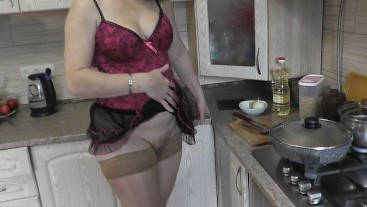 Naked Cooking with MILF. Under skirt without panties. Stockings. Hairy pussy. Ass. Tits. Nipples