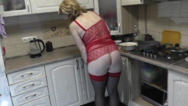Home nudism. In kitchen in transparent peignoir without panties mommy Milf DuBarry cooks naked. Tits