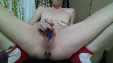 Masturbation with anal plug, vibrators, spiked dog bone, large dildo, and Pissing