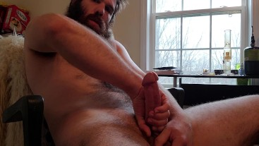 Slowly stroking my thick cock