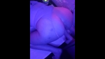 Sexy Snow Bunny rides her dildo