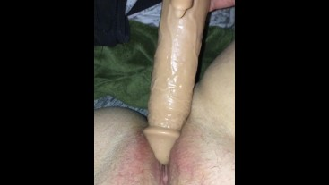 Wet pussy rubbed with big cock toy - Volume Up