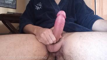 Big Cock Boy Jerking off in his  bathrobe