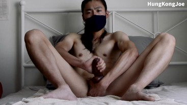 Long hair asian guy finger his prostate and edge out a big load out of his thick cock