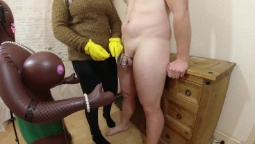 Chastity Release : Hubby has orgasm and cums on inflatable doll