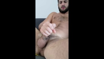 Hot guy stroking his long uncut cock - solo male dirty talk