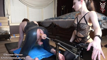 Mistress Mercer Lets Latex Sissy Out of Chastity to Cum on FuckMachine Max Speed