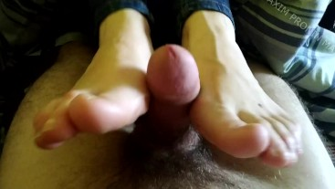 Footjob and Handjob from russian girl with a lot of thick cum. Abstinence 2 months