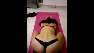 My wife stretching after workout