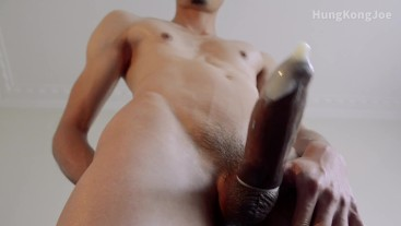 Slow and sensual edging, eventually cum handsfree into a condom