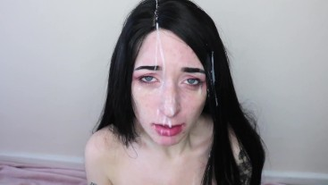 Goth school girl crying facial