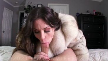 Milf In a Fur Coat Wants to Feel Her Stepsons Cock Inside Her Aching Pussy - Amiee Cambridge