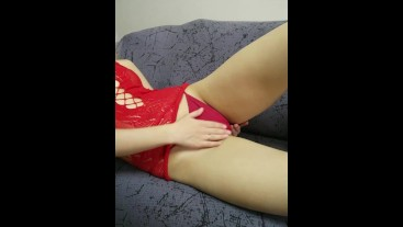 Pussy fetish from a Russian beauty in a red dress