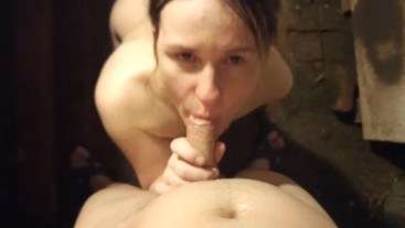 Caught her husband in the bath and sucked him off. He finished all over my face