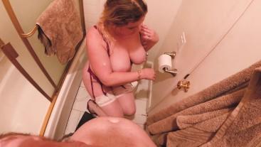 Stepmom fucks stepson in the bathroom after church