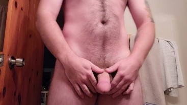 Slowly jerking my thick cock before breakfast